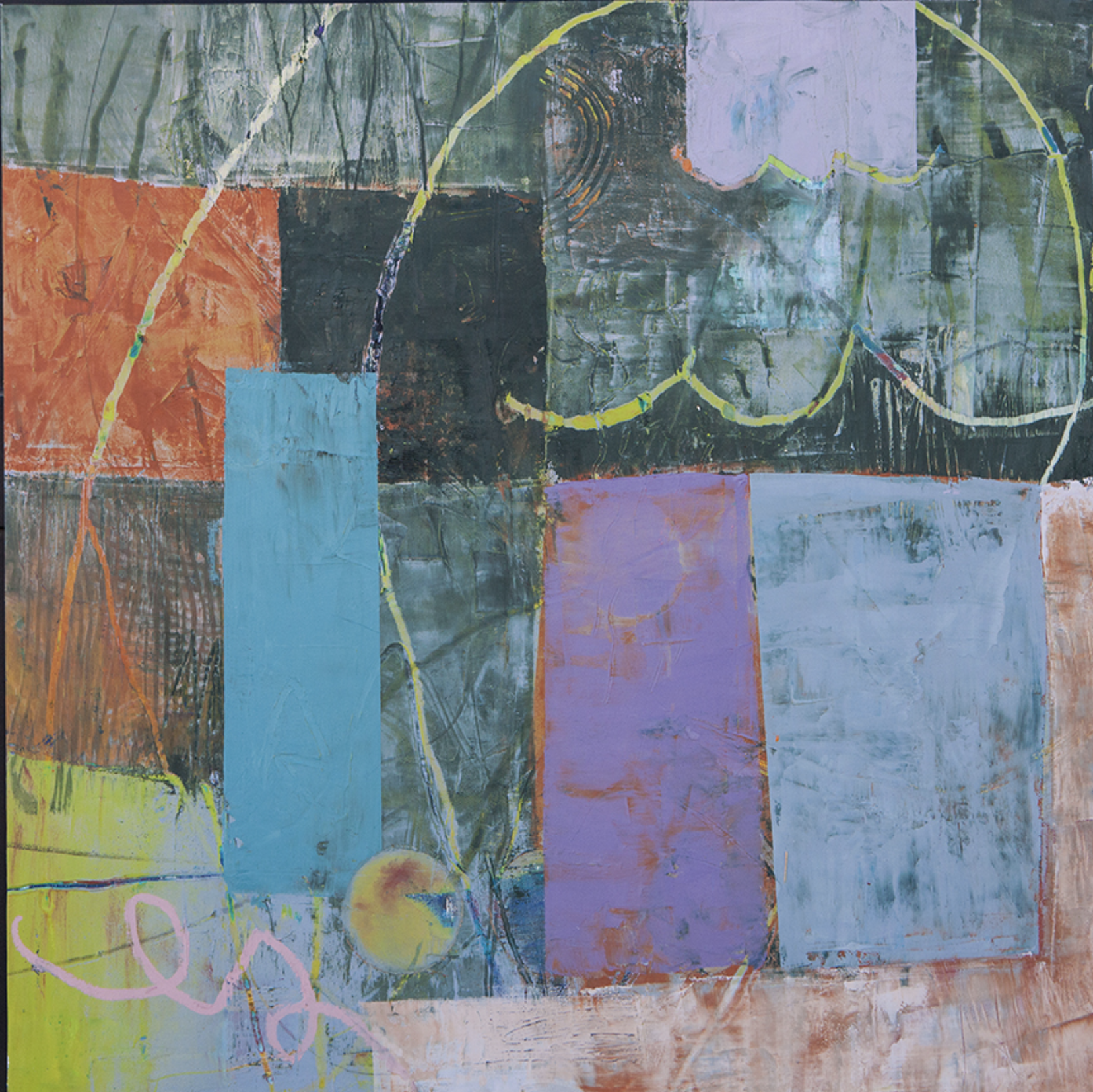 """Step Back into Time Oil and cold wax on Arches mounted on panel  20"""" x 20"""""""