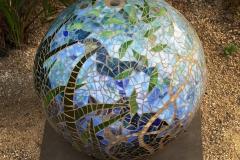 "Ocean Sphere – 2015 – glass on cement fountain– 16"""