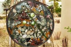 """Shimmer – 2015 – Glass, quartz on glass in custom steel frame – 15"""""""