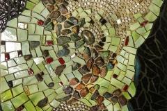"""Seabed – 2017 – glass, smalti, quartz, bornite on Wedi Board - 12"""" x 14"""""""