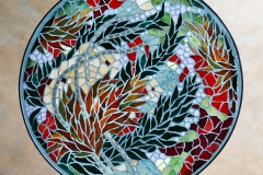 """Red Tide, 2018 – glass on glass tabletop in designed steel base – 15"""""""