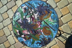 """From the Shore, 2015– glass on glass tabletop in custom steel base – 20"""""""