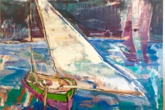 "Dutch Boat 50"" x 60"" Oil on canvas on board 2016"