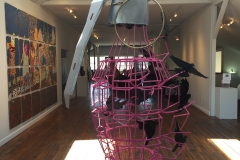 """Disruptor, powder-coated steel, recycled materials, 84"""" x 48"""" x 36"""""""
