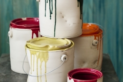"""Paint Buckets, ceramic, to 9"""" in height"""